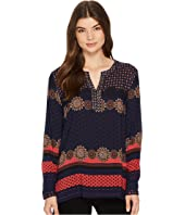 Tribal - Long Sleeve Printed Blouse w/ Beading Detail