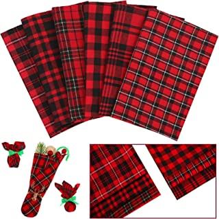 6 Pieces Christmas Plaid Fabric 18 x 18 Inch Buffalo Plaid Fabric Precut Checkered Cotton Fabric for Christmas DIY Craft S...