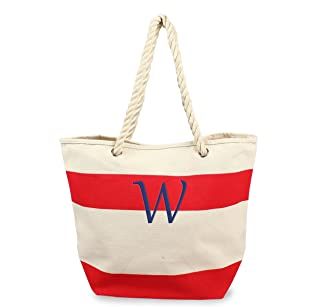حقيبة يد قماشية مخططة مخصصة بمقابض حبل، أحمر، حرف W من كاثي كونسيبتس