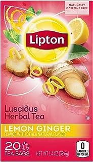 Lipton Herbal Tea Bags Lemon Ginger 20 ct - Pack of 6