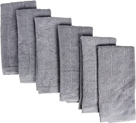 Fabbrica Home Rayon Made from Bamboo Kitchen Drying Towels Patented Everplush Technology (6, Gray