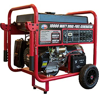 All Power America APGG10000GL 10000 Watt Dual Fuel Portable Generator with Electric Start 10000W Gas/Propane, Black/Red