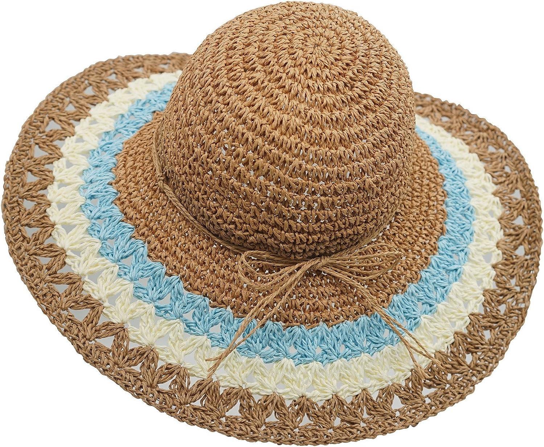 Connectyle Women's Floppy Large Brim Straw Sun hat Foldable Summer Beach hat
