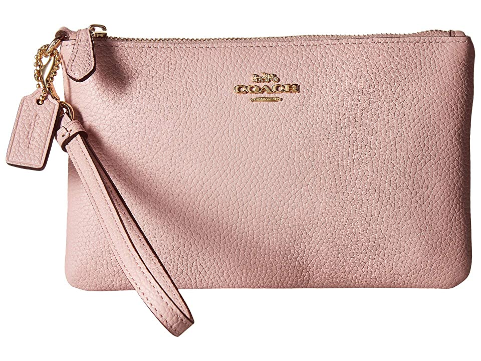 COACH Polished Pebble Small Wristlet (GD/Blossom) Wristlet Handbags