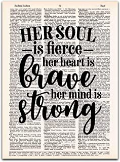Her Soul is Fierce, Her Heart is Brave, Her Mind is Strong, Girl Power Art, Vintage Dictionary Page Art, 8x10, Unframed