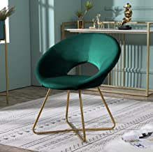 Roundhill Furniture Slatina Accent Chair with Gold Tone Finished Base, Green