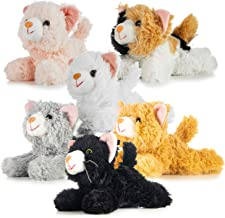 Pack of 6 Realistic Looking Plush Cats 6 Inches Long