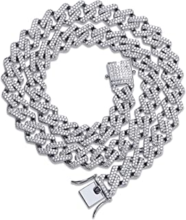 TOPGRILLZ 14mm Simulated Lab Diamond Iced Out Bling Miami Curb Link Choker Chain Necklace for Men