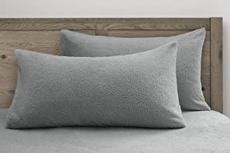 Velosso Teddy Bear Super Plush Warm Fuzzy Cuddly Fleece Thermal Bedding Pillowcases (One Pair Pillowcase, Silver Grey)