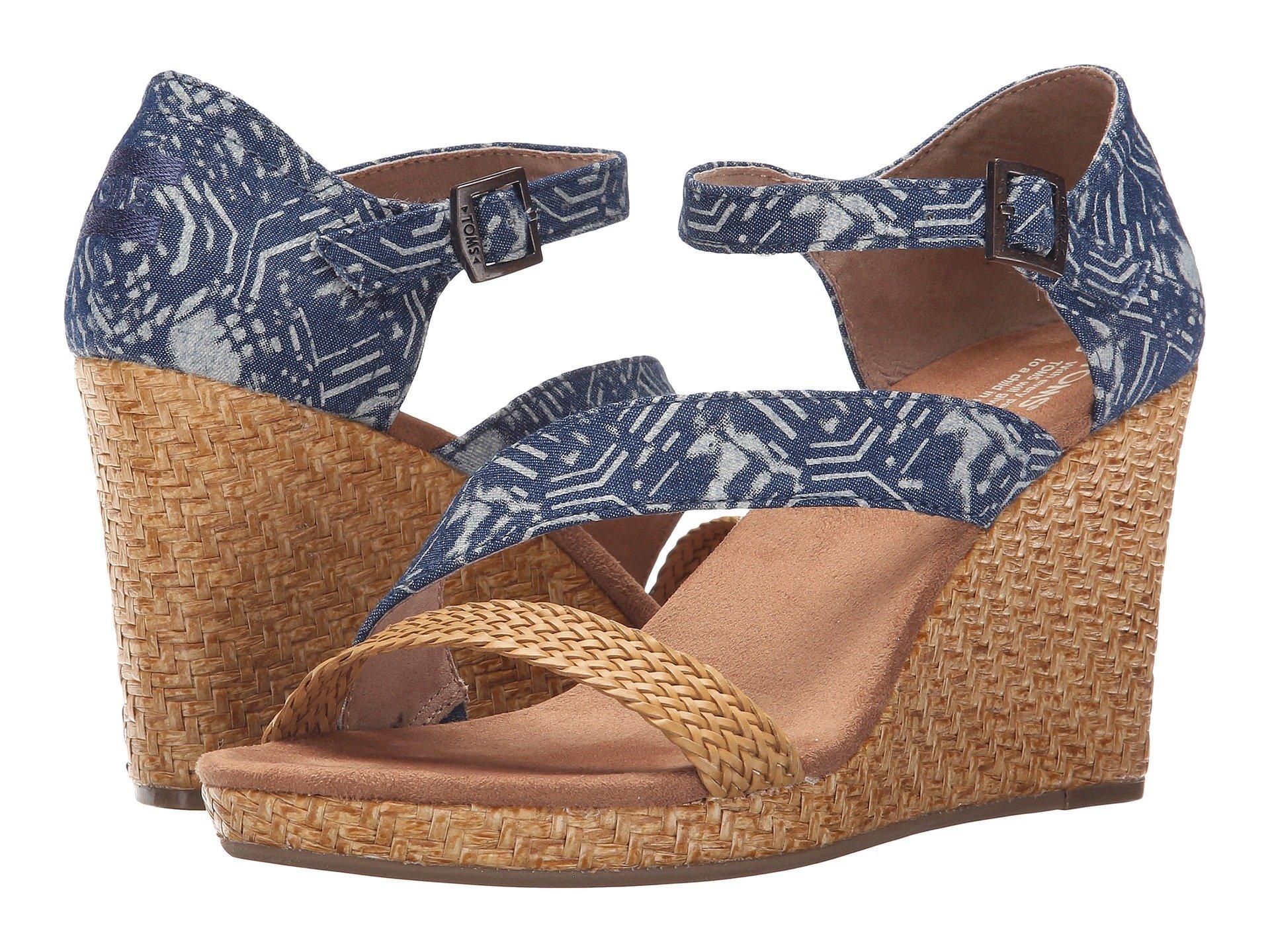 Clarissa Wedge, Blue Batik Textile/Wrapped