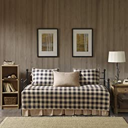 Cotton Daybed Cover Set - Double Sided Quilting Rustic Lodge Cabin Plaid Design,