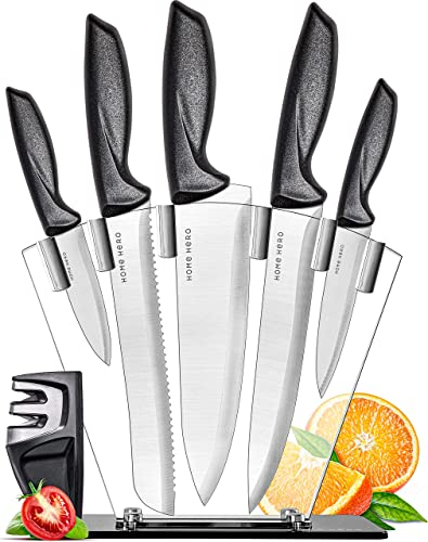 2021 Home Hero Chef Knife Set outlet online sale Knives Kitchen Set Stainless wholesale Steel Kitchen Knives Set Kitchen Knife Set with Knife Block, Professional Knife Sharpener 7 Piece Set (Stainless Steel Blades) outlet sale