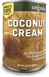 Nature's Greatest Foods, Organic Coconut Cream, No Guar Gum, Unsweetened, 13.5 Ounce (Pack of 12)