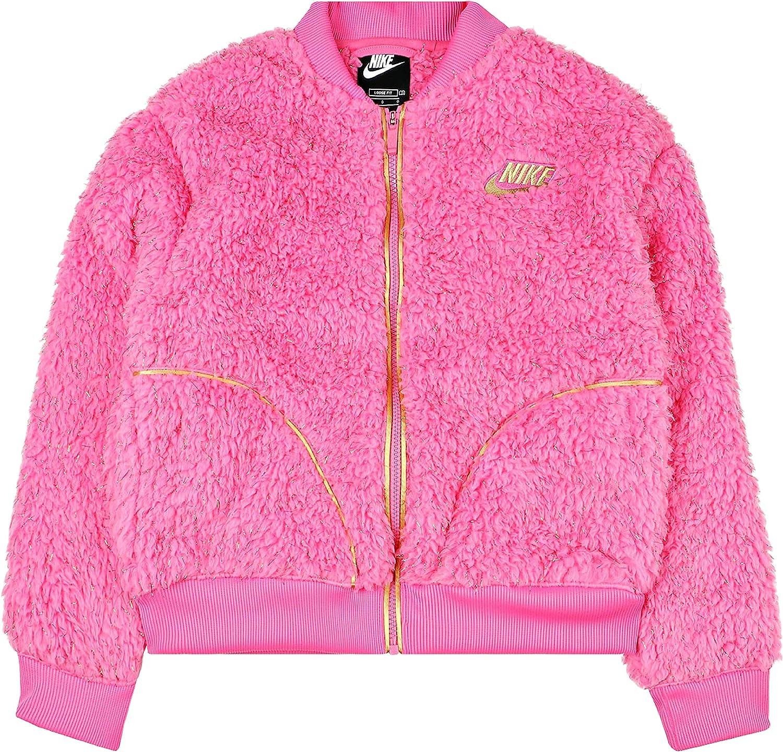 NIKE Big Girl Kids Sportswear High Pile Fleece Shine Bomber Jacket