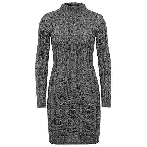 9c2ffe4e9dd ZEE FASHION Ladies Womens Long Sleeve Polo Neck Cable Knitted Jumper Dress  Top Plus Size UK