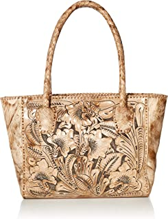 Mauzari Women's Leather Tote with Woven Handle