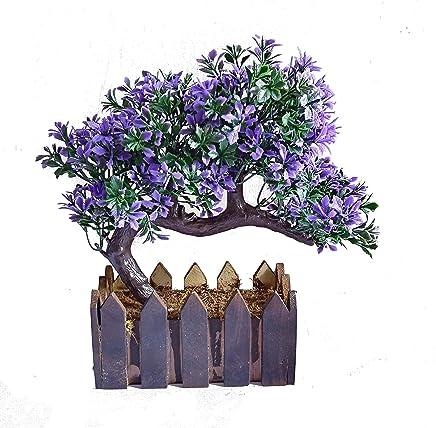 Sofix Bonsai Wild Plant Artificial Plant for Home Decor with Wooden Pot - 20 cm (Blue)
