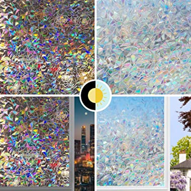 LUTE Window Film Privacy, Window Clings Glass, 3D Decorative Window Vinyl, Rainbow Window Cling, Removable Window Decals Non-