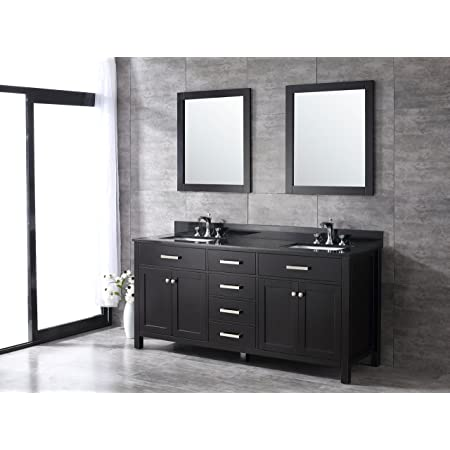 All Wood Espresso Shaker Vanity Complete 72 Inch Black Granite Top Amazon Com