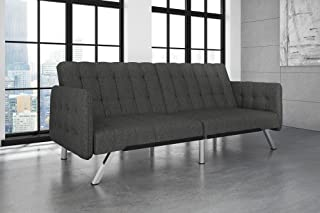 DHP Emily Convertible Futon and Sofa Sleeper, Modern Style with Tufted Cushion, Arm Rests and Chrome Legs, Quickly Converts into a Bed - Grey Linen