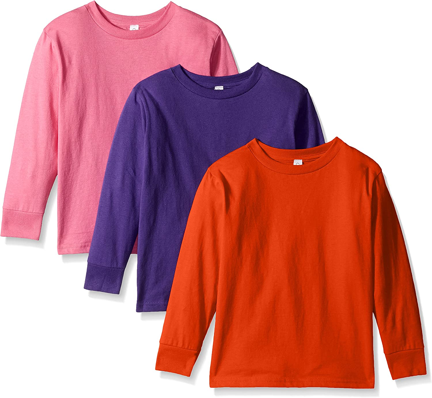Clementine Apparel Girls Long Sleeve Basic Tee 3pack TShirt