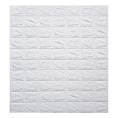 Store2508® PE Foam Wall Stickers 3D Self Adhesive Wallpaper DIY Wall Decor Brick Stickers (70 x 77cm, Appx. 5.8Sq Feet). (White)