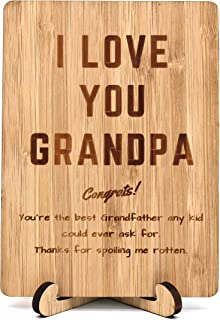Zuaart Fahter's Day Handmade Greeting Card I Love You Grandpa Wooden bamboo and Stand -
