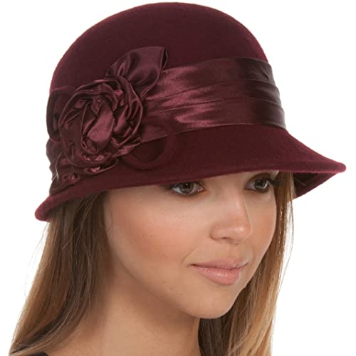49c5328e328025 Sakkas Marilyn Vintage Style Wool Cloche Hat with Satin Flower