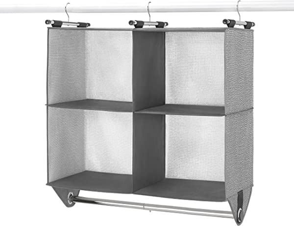 Whitmor 4 Section Fabric Closet Organizer Shelving With Built In Chrome Garment Rod