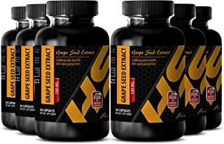 Blood thinner effect - PURE GRAPE SEED EXTRACT 100 Mg - Grape seed eye care supplements - 6 Bottles - 180 Capsules