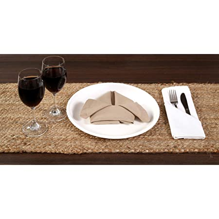 THE BEER VALLEY Jute Burlap Braided Table Runner 13 by 36-inch, Reversible and Hand Woven Farmhouse Look - Natural