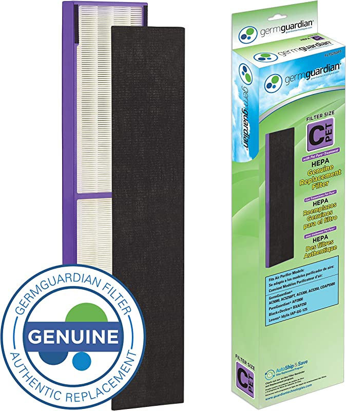 Germ Guardian FLT5250PT True HEPA GENUINE Air Purifier Replacement Filter C With Pet Pure Treatment For GermGuardian AC5250PT AC5000E AC5300B AC5350W AC5350B CDAP5500 And More