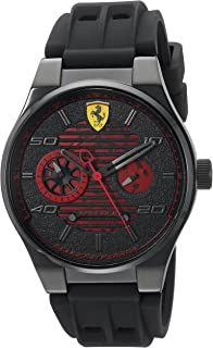 Ferrari Men's Speciale Stainless Steel Quartz Watch with Rubber Strap, Black, 25 (Model: 830431)