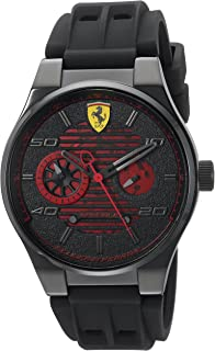 Ferrari Men's Speciale Stainless Steel Quartz Watch with Rubber Strap, Black, 25 (Model: 830431)