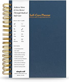 The Self-Care Planner - Best Daily/Weekly Agenda to Achieve Goals & Live Happier - Gratitude Journal, Track Fitness, Wellness, Mood, Health, Meals, Productivity – Undated Spiral Bound 6-Month