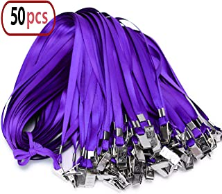 Purple Lanyard Clip Bulk Neck Flat Woven Nylon Lanyard with Bulldog Clips Purple Lanyards for id Badges,lanyards 50Pack 32-inch