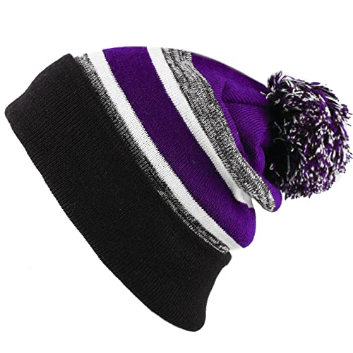 3db540911 THE HAT DEPOT Winter Soft Unisex Cuff Pom Pom Stripe Knit Beanie Skull  Slouch Hat