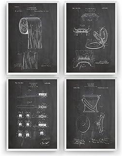 Baño Poster de Patente - Conjunto de 4 Impresiones - Bathroom Toilet Patent Print Póster Con Diseños Patentes Decoración d...