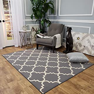 Maxy Home Hamam Moraccan Trellis Grey 5 ft. x 6 ft. 6 in. Rubber Backed Area Rug