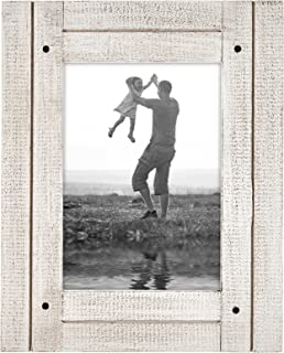 Americanflat 5x7 Aspen White Distressed Wood Frame - Made to Display 5x7 Photos - Ready to Hang - Ready to Stand - Built-in Easel