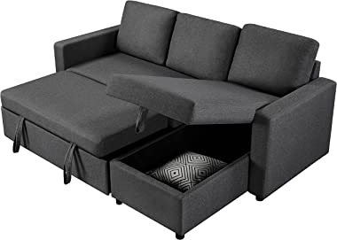 Yaheetech Modern Sectional L-Shaped Sofa Couch Bed w/Chaise, Reversible Couch Sleeper w/Pull Out Bed & Storage Space, 4-s