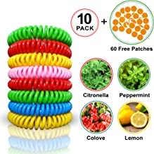 Ang+ 10 Mosquito Repellent Bracelet Bands with 60 Citronella Patches, Waterproof Bug Repelling Bands and Patches for Indoors Outdoors, No DEET One Size Fit All Mosquito Repellent Wristbands