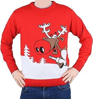 comprar comparacion Jersey Rojo y Blanco para Hombre y Mujer Unisex Navidad con Rudolph cogiendo una Cerveza - Tallas S - XXL