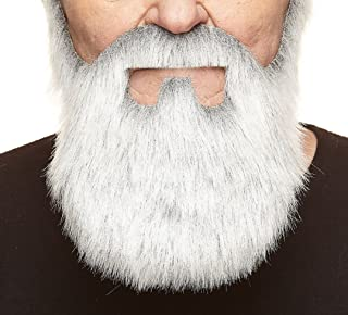 Mustaches Self Adhesive, Novelty, Old Merchant Fake Beard, False Facial Hair, Costume Accessory for Adults, Gray with White Color