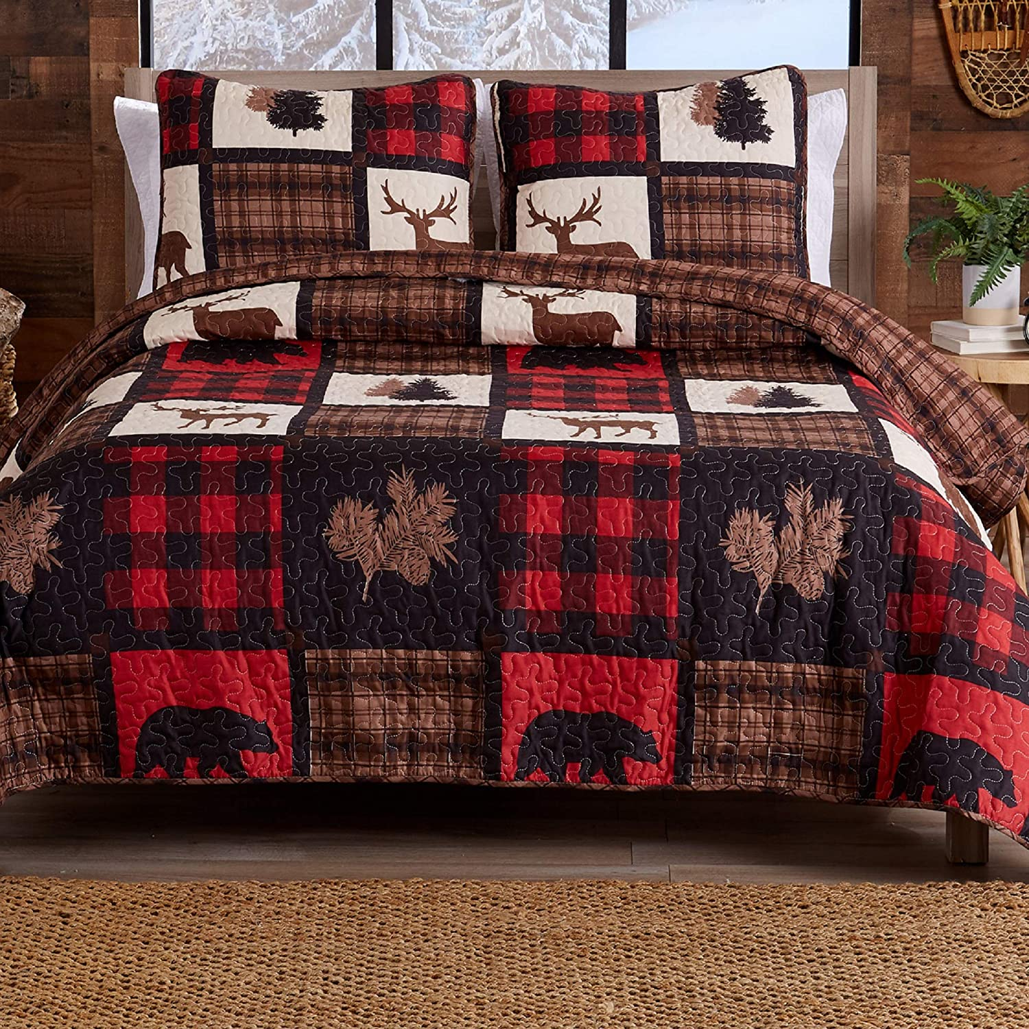 Lodge Bedspread Full/Queen Size Quilt with 2 Shams. Cabin 3-Piece Reversible All Season Quilt Set. Rustic Quilt Coverlet Bed Set