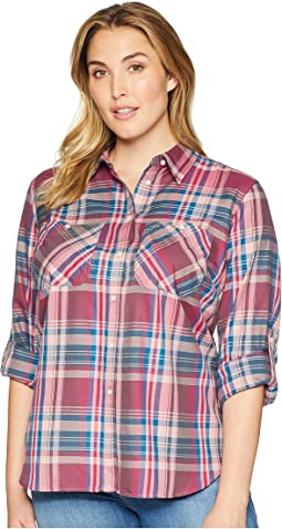Plus Size Plaid Twill Button-Down Shirt