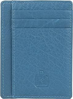 Le Craf Turquoise RFID genuine Leather Credit card holder for Men/Women Front Pocket Slim Wallet