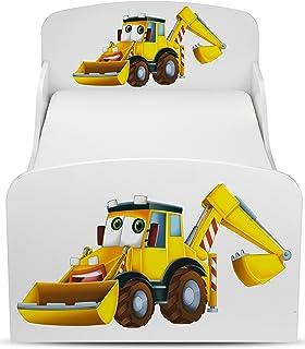 Leomark Moderne Lit d'Enfant Toddler Avec Matelas Couleur Blanc Motif: Pelle Jaune Véhicules De Construction Chambre Pour ...