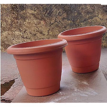 Plastic Container Pots, 10inch - Terracotta, 2 Pieces