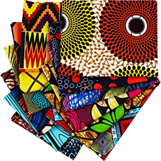 12 Tessuto Africano Quarti Grandi 19,5 x 15,7 Pollici (50 x 40 cm) Tessuto Africano con Stampa Wax Ankara Tessuto con Stam...